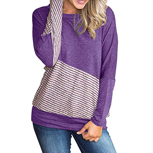 Oasisocean Womens Blouse, Color Block T-Shirt Blouses Patchwork Striped Tops Long Sleeve Casual Blouse Round Neck