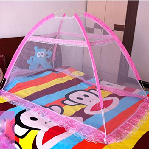 Baby Crib Tent for Bed, Portable Mosquito Net for Toddler Travel Play Canopy on Mattress Cover, Mesh Playpen Safety Kids from Sleep Bumper Nursery Netting on Cot Bedding, can be Folding with Pack Pink