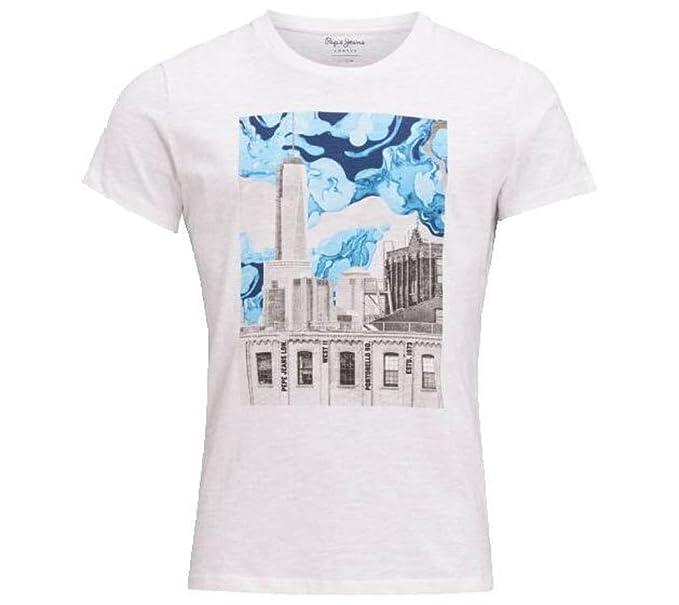 Pepe Jeans PM503928 - Oswald - Off White - Camiseta Manga Corta para Hombre (XL