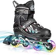 Adjustable Inline Skates for Girls Boys, 4 Sizes Kids and Adults Adjustable Roller Skates with Light up Wheels