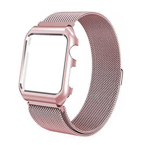 BMBEAR Compatible Apple Watch Band 42mm Stainless Steel Mesh Magnetic Replacement Wrist Band with Metal Protective Case for Apple Watch Series 3 Series 2 Series 1 Sport Nike+ Edition Rose Gold