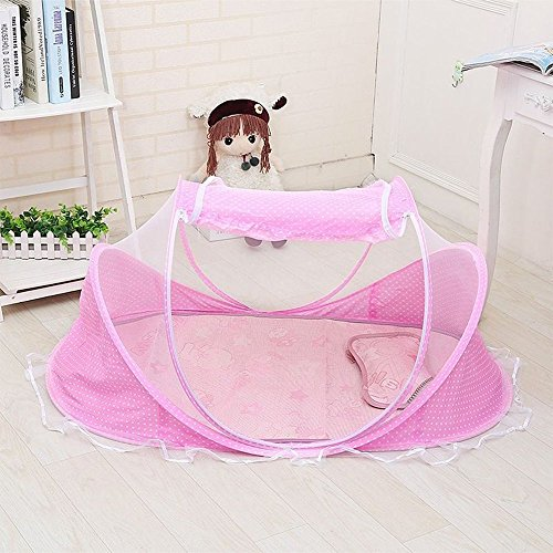 N.C. Products Baby Travel Bed, Portable Travel Beach Tent, Pink Pop-Up Beach Tent Protect from Sun, mosquitos & Bugs