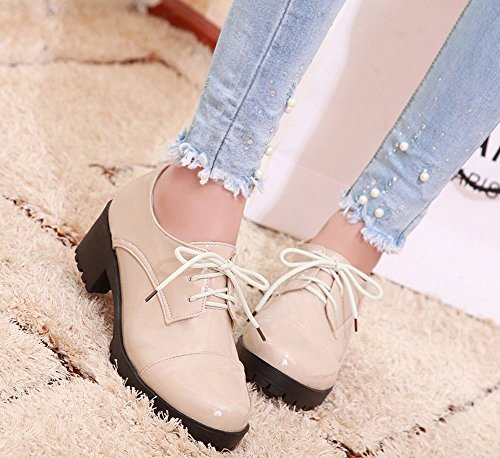 Lace Chunky up Heel Women's Shoes Beige Latasa Oxford wpCq11