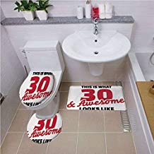 Bath mat Set Round-Shaped Toilet Mat Area Rug Toilet Lid Covers 3PCS,30th Birthday Decorations,Thirty Amazing Motivational Quote Milestone Anniversary,Red Black White,Printed