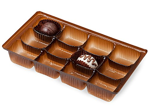 Pack Of 100, 8 X 4.25 X 1'' Medium Rectangle Solid Chocolate Candy Trays W/12 Sections