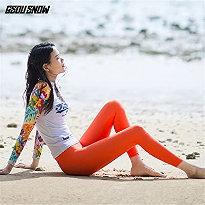 GSOU SNOW Women's Two Piece Rash Guard Long Sleeve Shirt Pants Swimwear Swimsuit UPF 50+ Swim Sun Protection Top Beach