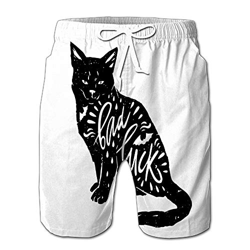 Summer Shorts Pants Black Cat Bat Quote Bad Luck Happy Halloween Swim Trunks Stripe Casual Swim Shorts XXL -