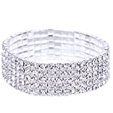 EOZY Elastic Stretchy 5 Row Rhinestone Crystal Bracelet Bangle Wedding Bridal Jewellery