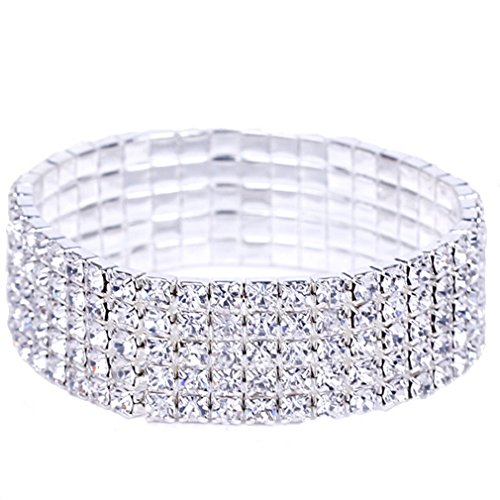 EOZY Bridal 5Row Rhinestone Crystal Stretch Bracelet Silver Tone for Wedding Prom Party