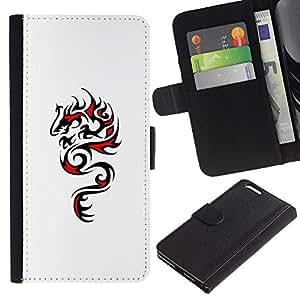 Negro Dragón Rojo Arte Dibujo- la tarjeta de Crédito Slots PU Funda de cuero Monedero caso cubierta de piel Para Apple (5.5 inches!!!) iPhone 6+ Plus / 6S+ Plus