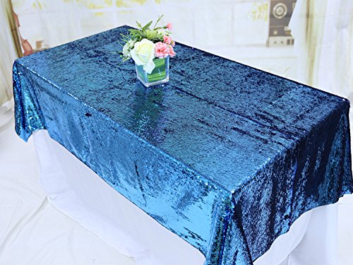 TRLYC Lavender and Blue 90x132-Inch Two Color Glitter Sequin Tablecloth Sequin for Wedding by BalsaCircle