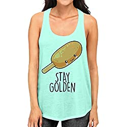 Junior's Stay Golden Corn Dog Tee B1078 PLY Mint Green Racerback Tank Top Medium