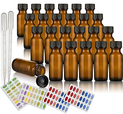 amber-glass-container-bottle-15ml-pack-of-24-with-lid-2-extra-droppers-and-4-labels-for-beauty-aroma