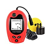 Lucky Fishing Portable Fish Finder with Compass Sonar Sensor Handheld Wired Fish Finder Alarm Sensor Transducer LCD Display Depth Finders for Kayak Boat Float Fishing