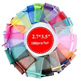 4EAELove Organza Bags 50Pcs 2.7 X 3.5 inches Sheer Drawstring Organza Jewelry Pouches Wedding Party Christmas Favor Candy Gift Bags (2.7''X3.5'' 100PCS, Mixed Color)