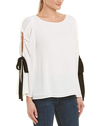 7c93aa3139e5eb VINCE CAMUTO Women s Bell Sleeve Tie Cold Shoulder Blouse at Amazon Women s  Clothing store