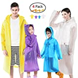 Euow Rain Ponchos Family Reusable Raincoats 2 Pack Adult Ponchos 2 Pack Kids Ponchos for Family Travel,Camping,Hiking,Fishing and Emergency,Thicker Material with 4 Colors for Adults & Kids (A)