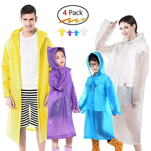 Euow Rain Ponchos Family Reusable Raincoats 2 Pack Adult Ponchos 2 Pack Kids Ponchos for Family Travel,Camping,Hiking,Fishing and Emergency,Thicker Material with 4 Colors for Adults & Kids (A) by Euow