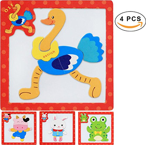 Frog Fridge Magnet - PROW Wooden Magnetic Puzzles, Baby Educational Puzzle Jigsaw Wood Toys as Fridge Magnet for Ages 3+ Kids - Frog, Ostrich, Cattle, Rabbit Set of 4