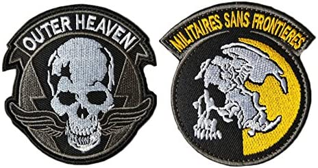 QTao UPA249 Hook /& Loop Metal Gear Solid V 1980s Outer Heaven Tactical Morale Patch Embroidered Appliques 2pcs Color - 2