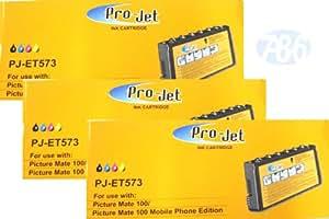 MyInkLink - Cartuchos de tinta compatibles T573 para impresoras Epson PictureMate 100 (3 unidades), color negro, cian, magenta y amarillo
