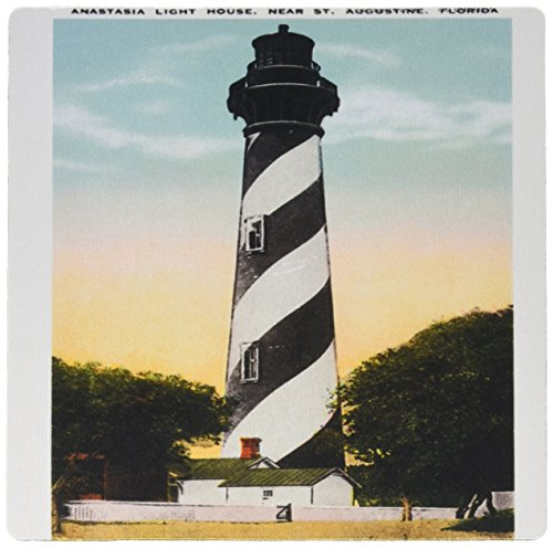 Anastasia Lighthouse - 3dRose LLC 8 x 8 x 0.25 Inches Mouse Pad, Anastasia Light House, St. Augustine, Florida - (mp_169573_1)