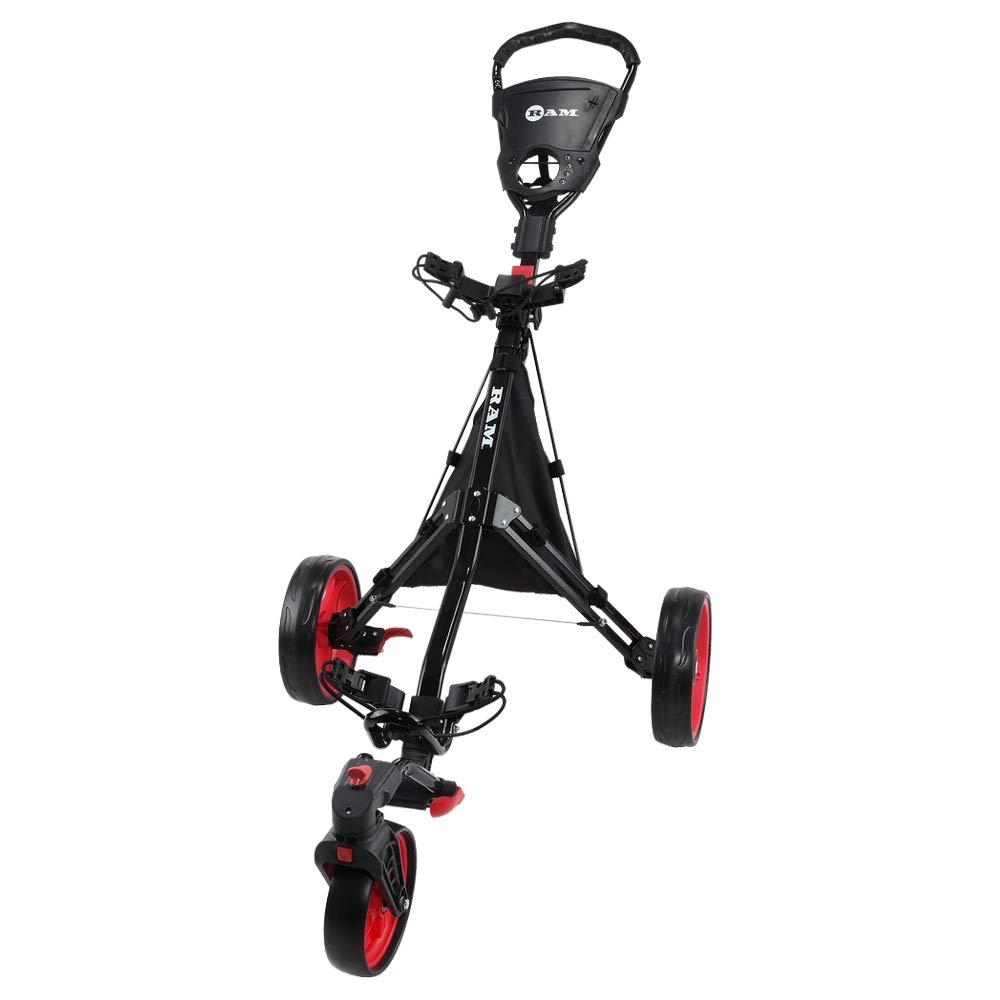 RAM Golf Push Pull 3-Wheel Golf Cart with 360 Rotating Front Wheel