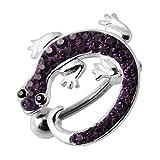Purple Multi Crystal Stone Lizard Reverse Bar Design 925 Sterling Silver Belly Button Piercing Ring Jewelry