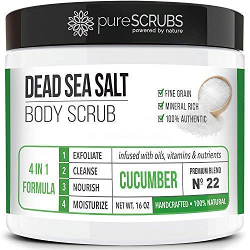 Premium Organic Body Scrub Set - Large 16oz CUCUMBER BODY SCRUB - Pure Dead Sea Salt Infused With Organic Essential Oils & Nutrients + FREE Wooden Spoon, Loofah & Mini - Tea Body Scrub White