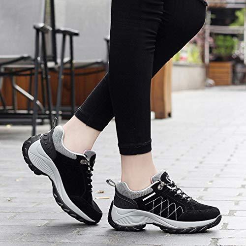 Running Negro Aire Zapatos Verano otoño Libre Cordones y Zapatillas Plataforma Calzado QinMM Mujer Primavera Gym con Deportes para AxT5FO