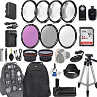 58mm 28 Pc Accessory Kit for Canon EOS Rebel 70D, 80D DSLRs with 0.43x Wide Angle Lens, 2.2x Telephoto Lens, Battery Grip, 32GB SD, Filter & Macro Kits, Backpack Case, and More