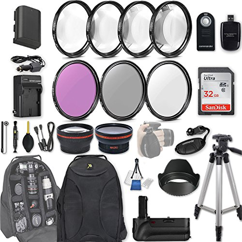 58mm 28 Pc Accessory Kit for Canon EOS Rebel 70D, 80D DSLRs with 0.43x Wide Angle Lens, 2.2x Telephoto Lens, Battery Grip, 32GB SD, Filter & Macro Kits, Backpack Case, and More by 33rd Street