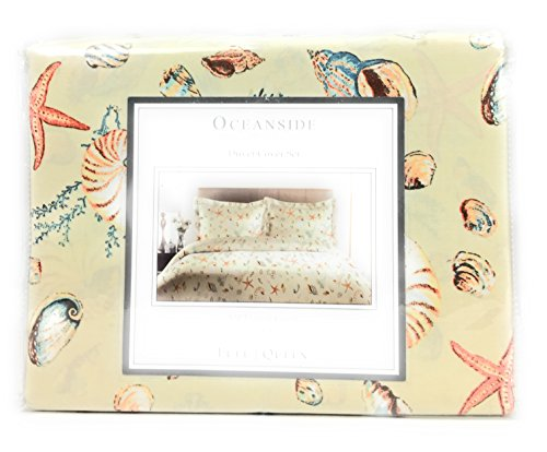 OCEANSIDE Cotton 300TC FULL/QUEEN Reversible Duvet Cover Set Multi Color Sea Creatures (SAND)