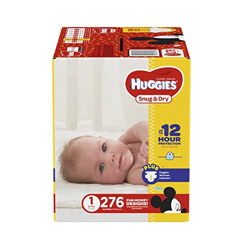 HUGGIES Snug & Dry Diapers, Size 1, 276 Count (Packaging May Vary)