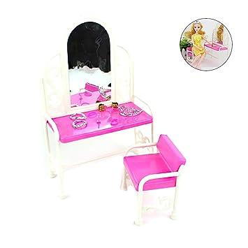 Rocita 2pcs Pack Barbie Coiffeuse Chaise Set Meubles Accessoires