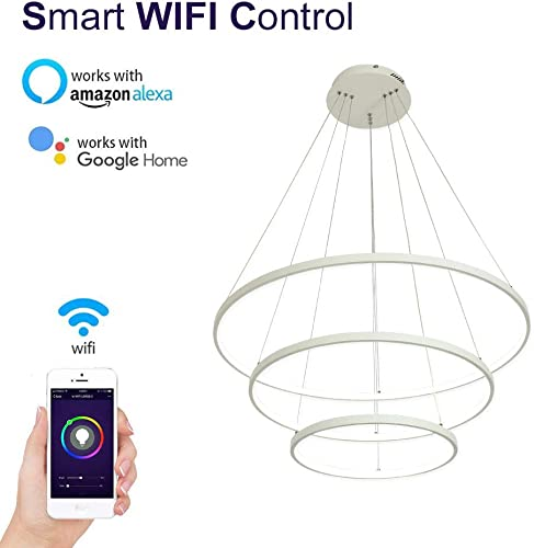 LightInTheBox Smart WiFi LED 3 Ring Chandeliers Pendent Light Island Dining Room Lighting Fixture with Max 90W Painted Finishes Smartphone Control Compatible with Amazon Alexa and Google Home White