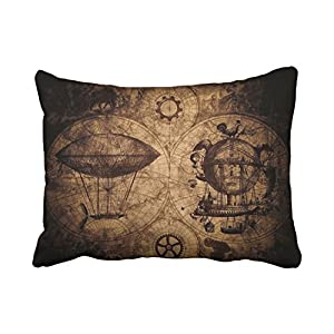 Accrocn Pillowcases Vintage Steampunk Map Compass Pencil Drawing Polyester Pillow Covers 20 x 26 Inch Standard Size Rectangle Cushion Decorative Pillowcase with Hidden Zipper Home Sofa