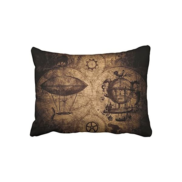 Accrocn Pillowcases Vintage Steampunk Map Compass Pencil Drawing Polyester Pillow Covers 20 x 26 Inch Standard Size Rectangle Cushion Decorative Pillowcase with Hidden Zipper Home Sofa 3