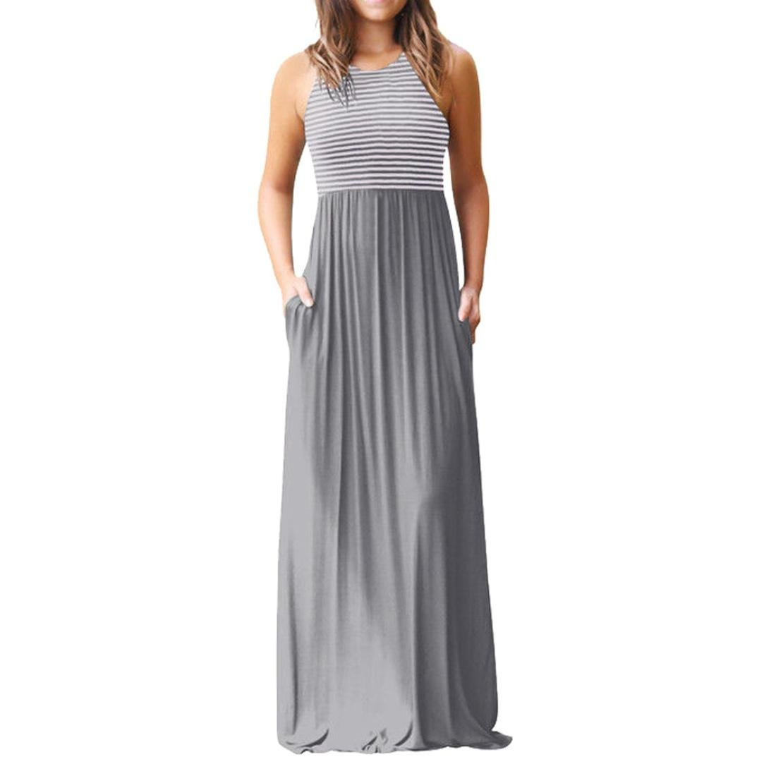 MEEYA Hot Sale! Long Dress 2018 New Women's Casual Sleeveless Print Striped Maxi Tank Dresses