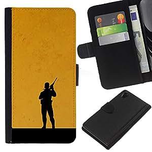 YiPhone /// Tirón de la caja Cartera de cuero con ranuras para tarjetas - Metal Gear Naranja - Sony Xperia Z2 D6502