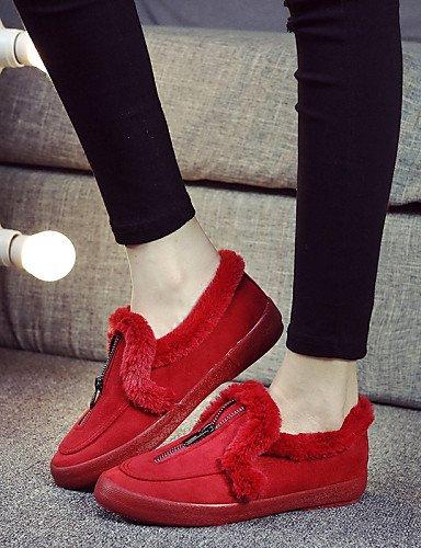 Cordones Tacón negro us8 Redonda Rojo Blue Dark Punta Exterior Zapatos Eu39 Casual Mujer Zq Sin Cn39 Mocasines Uk6 us8 Plano Comfort Azul Vellón Black De qUxv6UnwSt
