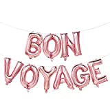 Bon Voyage Balloons Rose Gold | Bon Voyage Party Decorations | Bon Voyage Balloon Banner | Going Away Party, Moving Away Party, Retirement Party, Farewell Party Decorations | 16inch