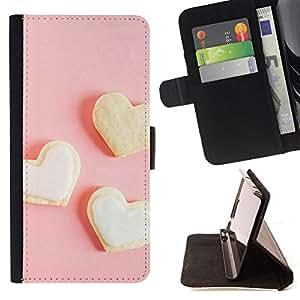 BullDog Case - FOR/Samsung Galaxy S6 EDGE / - / Three white heart /- Monedero de cuero de la PU Llevar cubierta de la caja con el ID Credit Card Slots Flip funda de cuer