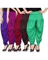 Culture the Dignity Women's Lycra Dhoti Patiala Salwar Harem Pants CTD_D5_A_1 - FREE SIZE - Combo Pack of 5