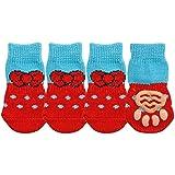 Sunshine Klai 4Pcs Cute Puppy Dog Shoes Anti-Slip Knit Socks Small Dogs