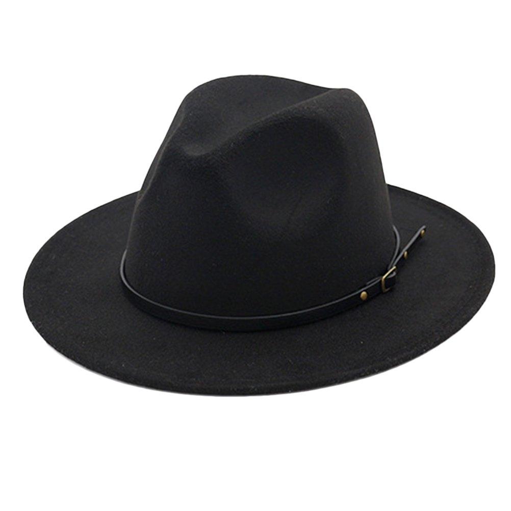 Zhuhaitf Ladies Vintage Bowler Wool Felt Wide Brim Fedora Hat Crushable Jazz Hat