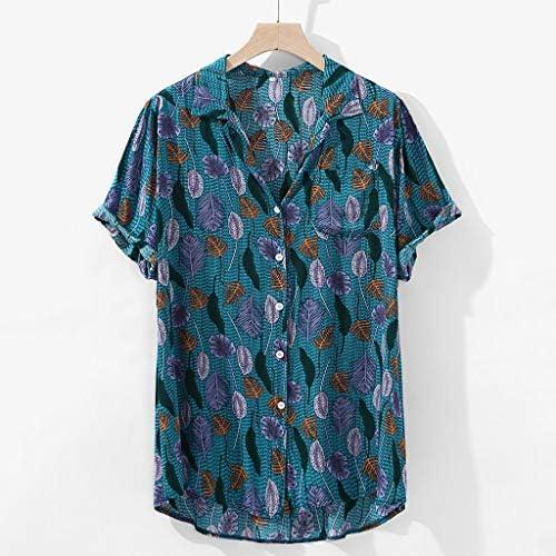 Camisetas Hombre, Verano de Lino Liso Algodón Talla Grande ...