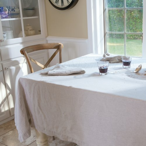 Natural Undyed Pure Linen Tablecloth, 66''x126'' Rectangle by Huddleson Linens