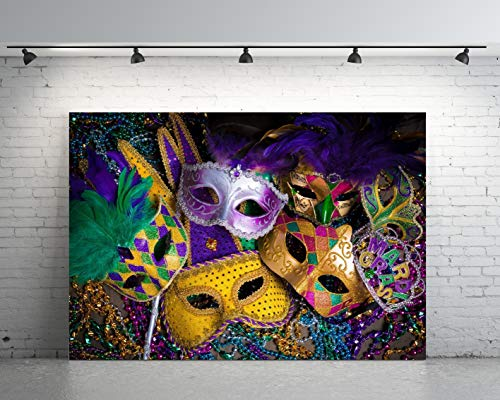 7x5ft Backdrop Mardi Gras Mask Colorful Poster Masquerade Backgrounds Customized Photography Vinyl Photo Background 0017A ()