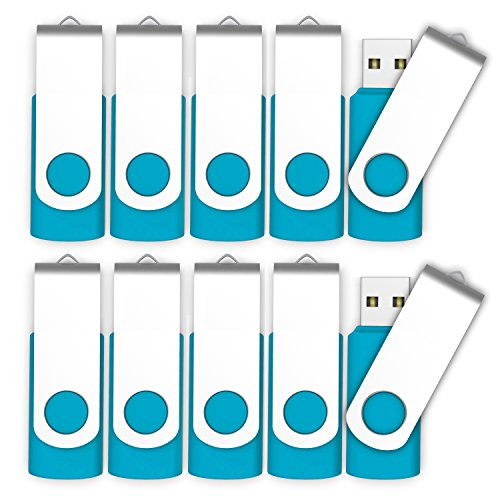 10 X MOSDART 128MB Small Capacity USB2.0 Bulk Flash Drive Swivel Thumb Drives Jump Drive Pen Drive Zip Drive with Led Indicator,Blue - 10Pack (Unbranded,Not 128GB)